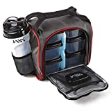 Fit and Fresh 944FFJX186C Original Jaxx FitPak Insulated Cooler Lunch Box, Meal Prep Bag with Portion Control Containers, Ice Pack, 28 oz Shaker, Standard, Red & Black