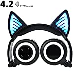 Wireless Bluetooth Headphones with Cat Ear, AMENON On-ear Foldable LED Gaming Flashing Lights USB Charger Earphone Headset for Children, Compatible with IOS phone and Android Phone Laptop (1 Black)