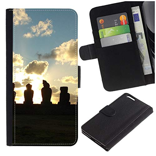 [Easter Island Sunset] for LG Aristo/LG Phoenix 3 / K8 2017 / Fortune/Risio 2 / K4 2017 / V3, Flip Leather Wallet Holsters Pouch Skin Case -