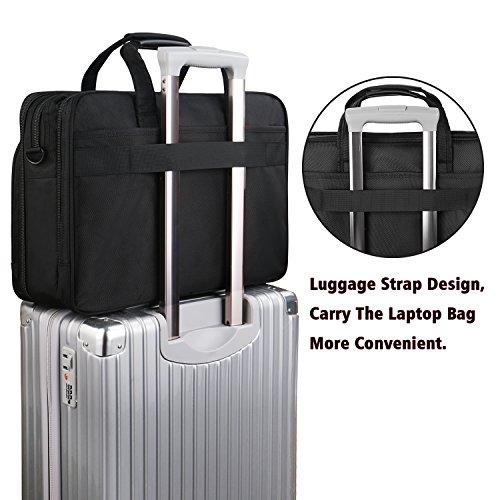 17 inch Laptop Bag,Expandable Briefcase Large Capacity Computer Bag for Women & Men,Oxford Nylon Fabric Shoulder Bag, Water Resistant Durable Messenger Bag Case for HP DELL 15 15.6 inch Laptop -Black by Ytonet (Image #4)