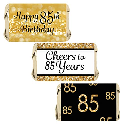 Black and Gold 85th Birthday Mini Candy Bar Wrappers