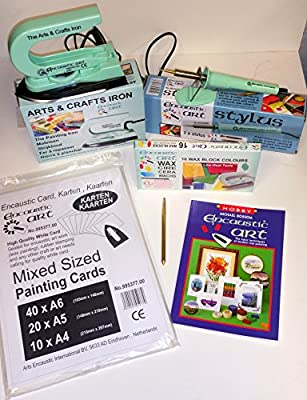 Encaustic Art Complete Kit with Iron, Stylus, Paper and Wax