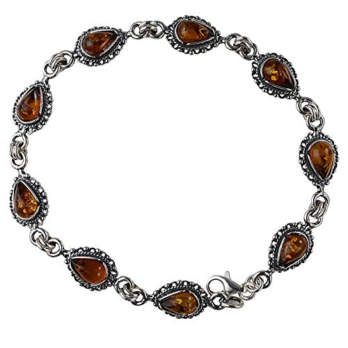 HolidayGiftShops Sterling Silver Baltic Honey Amber Bracelet - Amber Honey Silver Sterling Bracelet