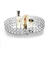 "Feyarl Crystal Cosmetic Vanity Tray Jewelry Organizer Tray Mirror Finished Decorative Tray Display Dresser Bedroom Wedding Birthday Party (Oval 12"" x 8"")"