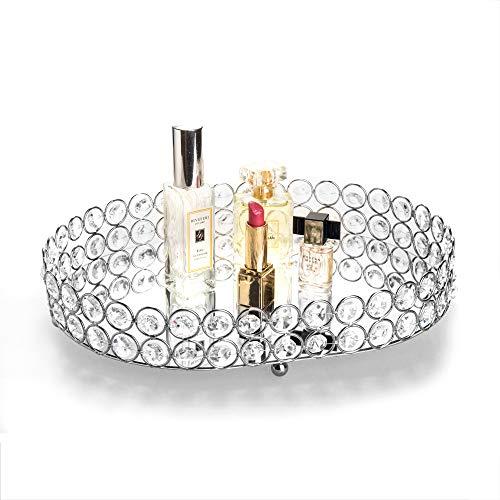 (Feyarl Mirrored Crystal Vanity Makeup Tray Ornate Jewelry Trinket Tray Organizer Cosmetic Perfume Bottle Tray Decorative Tray Home Deco Dresser Skin Care Tray Storage (Oval 14
