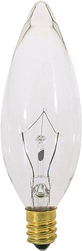 Clear Satco S3390 120V E14 Euro Base 25-Watt B9.5 Light Bulb