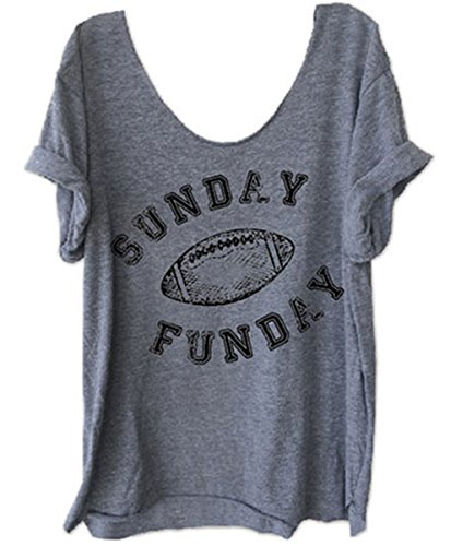 Football Print T-shirt (Women's Sunday Funday Football Letters Print Funny T-Shirt Casual Tees Blouse Size XL (Gray))