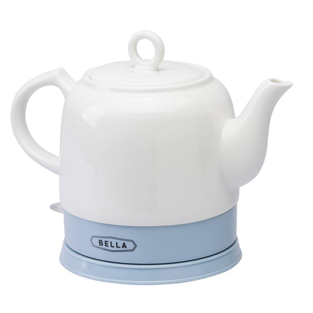 Bella Kettles - Electric Ceramic Cordless White Kettle Teapot - Retro 1.2L Jug, 1750W Boils Water Fast for Tea, Coffee, Soup, Oatmeal - Removable Base, Boil Dry Protection - Blue MPL Home Ltd