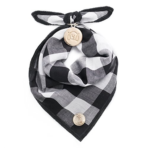 Pup Bandana (United Pups Designer Bandana Collection for Dogs (B&W Gingham, Medium))