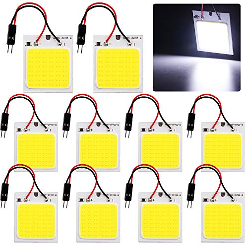 GrandviewTM COB 10-Pack 48-SMD DC12V LED Panel Dome Lamp Auto Car Interior Reading Plate Light Roof Ceiling Interior Wired Lamp with 10x BA9S T10 Festoon Adapters