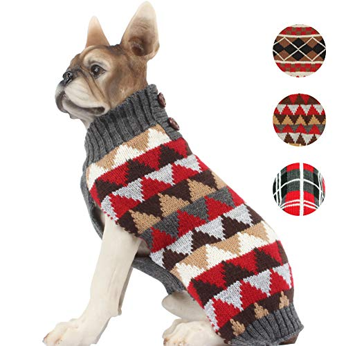 BOBIBI Dog Sweater England Plaid Pet Cat Winter Knitwear Warm Clothes,Medium