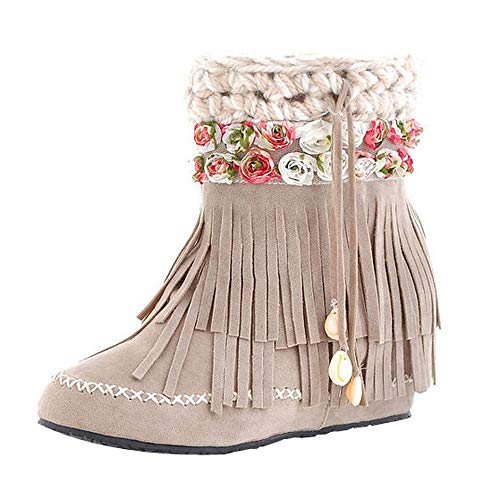 Womens Boots Boots Suede Flat Snow Boots Tube Beige Short Boots Fashion Heel Fringed qayw1wpAZ