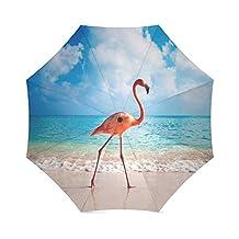 Pink Flamingos on the Beach Anti Rain Windproof Travel Golf Sports Foldable Umbrella