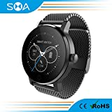 SMA Smart Fitness Watch, Bluetooth Heart Rate Monitor Smartwatch for iPhones Android Women Men (Black-1)