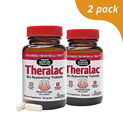 (Master Supplements Theralac (2 Pack) - 30 Vegan Capsules - Multi Strain Probiotic for Optimal Gut Health, Immune Booster, Gas and Bloating Relief - Gluten Free - 30 Servings)