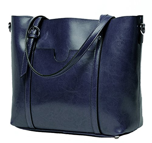 CLELO Women's Tote Bag, Genuine Leather Purse Handbag Shoulder Bag (Navy (Blue Tote)
