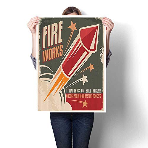 Canvas Prints Artwork Picture Fireworks in Vintage Paper with Stars Rockets Western Halloween On Canvas Modern Seascape Home Office Decor,16