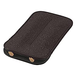 Leather Double Pen Sleeve, Genuine Stingray Leather, Brown, Fits 2 Pens