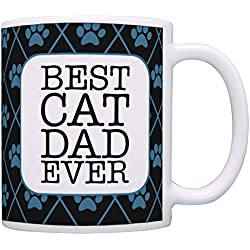 Cat Gifts for Men Best Cat Dad Ever Cat Lover Gifts for Men Funny Cat Coffee Mug Gift Coffee Mug Tea Cup Black