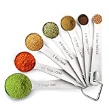 7-Piece 18/8 Measuring Spoons Stainless Steel with 1/8 tsp, 1/4 tsp, 1/2 tsp, 3/4 tsp, 1 tsp, 1/2 tbsp & 1 tbsp Dry and Liquid Ingredients, Premium Metal & Stackable Measuring Spoons