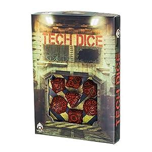 Q-Workshop Polyhedral 7-Die Set: TECH – Red & Black Dice Set