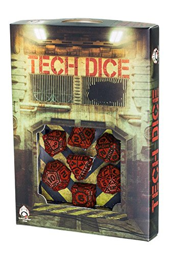 Q-Workshop Polyhedral 7-Die Set: TECH - Red & Black Dice Set 3