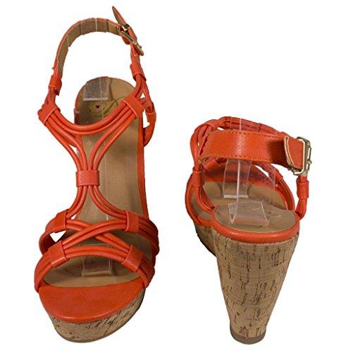Lustacious Womens Slingback Strappy Peep Toe Piattaforma Tacco Sandali Con Zeppa In Sughero Similpelle Arancione