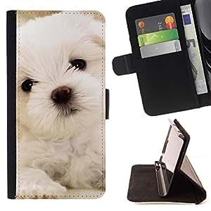Momo Phone Case / Flip Funda de Cuero Case Cover - Maltés del perro de perrito blanco suave; - LG G4 Stylus H540