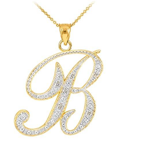 14k Yellow Gold Diamond Script Initial Letter B Pendant Necklace, 22