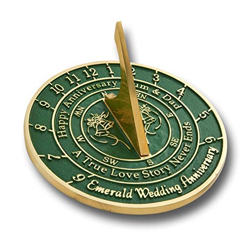 (The Metal Foundry 55th Emerald Wedding Anniversary 2019 Sundial Gift Idea is A Great Present for Him, for Her Or for A Couple to Celebrate 55 Years of)