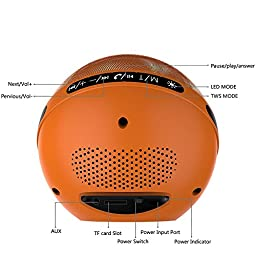 [TWS Function] LED Bluetooth Speakers, Marsboy Wireless Bluetooth Speaker with Lights,Hifi Sound with Aux for 12 Hrs Playtime,Orange