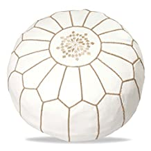 White Leather Pouf with gray embroidery