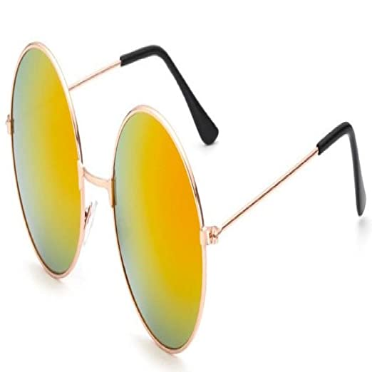 Yangjing-hl Gafas de Sol de Lentes Redondas para Mujeres/Hombres ...