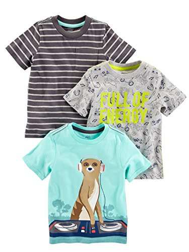 Simple Joys by Carter's Baby Boys' Toddler 3-Pack Graphic Tees, Energy,Stripe,Meercat, 5T ()