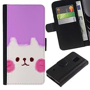 KingStore / Leather Etui en cuir / Samsung Galaxy S5 V SM-G900 / Cute Puppy Rosa Blanco