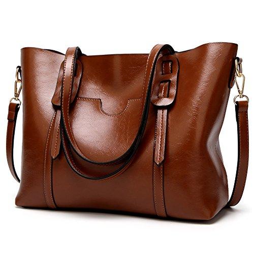 LoZoDo Women Top Handle Satchel Handbags Shoulder Bag Tote Purse (Drak brown) -