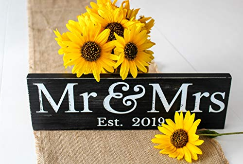 Craftwize Mr & Mrs Sign (Gift Box Included), 2019 Large ~ Wedding Present, Newlywed Gift/Decoration