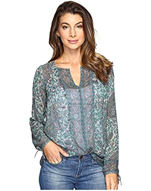 Womens Grey Paisley Peasant Top