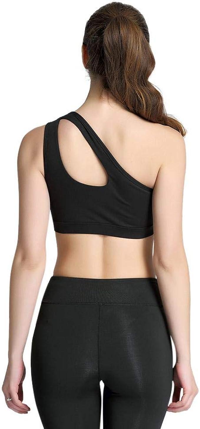 Women/'s One Shoulder Padded Bra Sports Bra Top Fitness Workout Yoga Tank Top