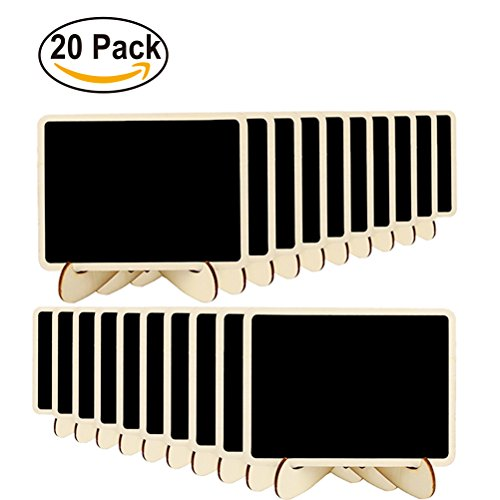 Pack of 20 Mini Table Chalk Board | Black Boards With Easel Stand | Available in Rectangular or Wavy Edge | Perfect as Tables Number or Message Boards for Weddings, (Table Message Frame)