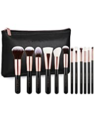 Arose Beauty Luxury Rose Gold 12pc Vegan Makeup Face & Eye Essentials Brush Set - Vintage Rose | Premium Quality | Handcrafted | Ultra Soft and Dense