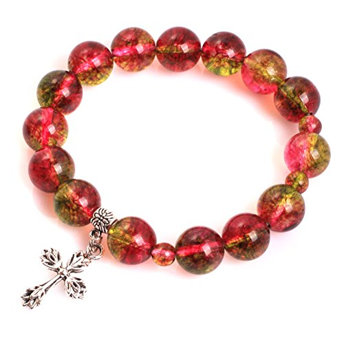 (GEM-inside 12mm Red Tourmaline Mala Prayer Rosary Beads Cross Bracelet Catholic Christian Jewelry 7)