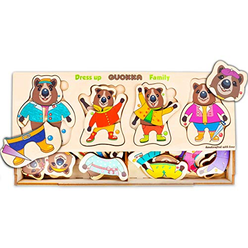 Wooden Bear Family Dress-up Puzzle, Quokka Wild Animals, 72 Pieces, Peg Puzzles, Matching Activities, Puzzle for Toddlers 3 Years, Storage Box, Made in Europe