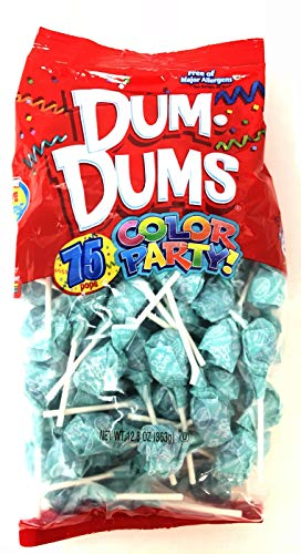 Dum Dums Color Party - 75 Individually Wrapped Pops (Light Blue) ()