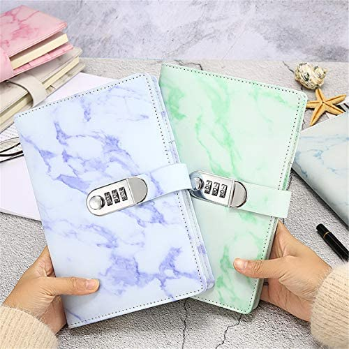 Wrubxvcd Notebook, A5, Wochen Von Notepad, Notebooks zu sperren: Passwort: In Textur Marmor Notizblöcke Leder