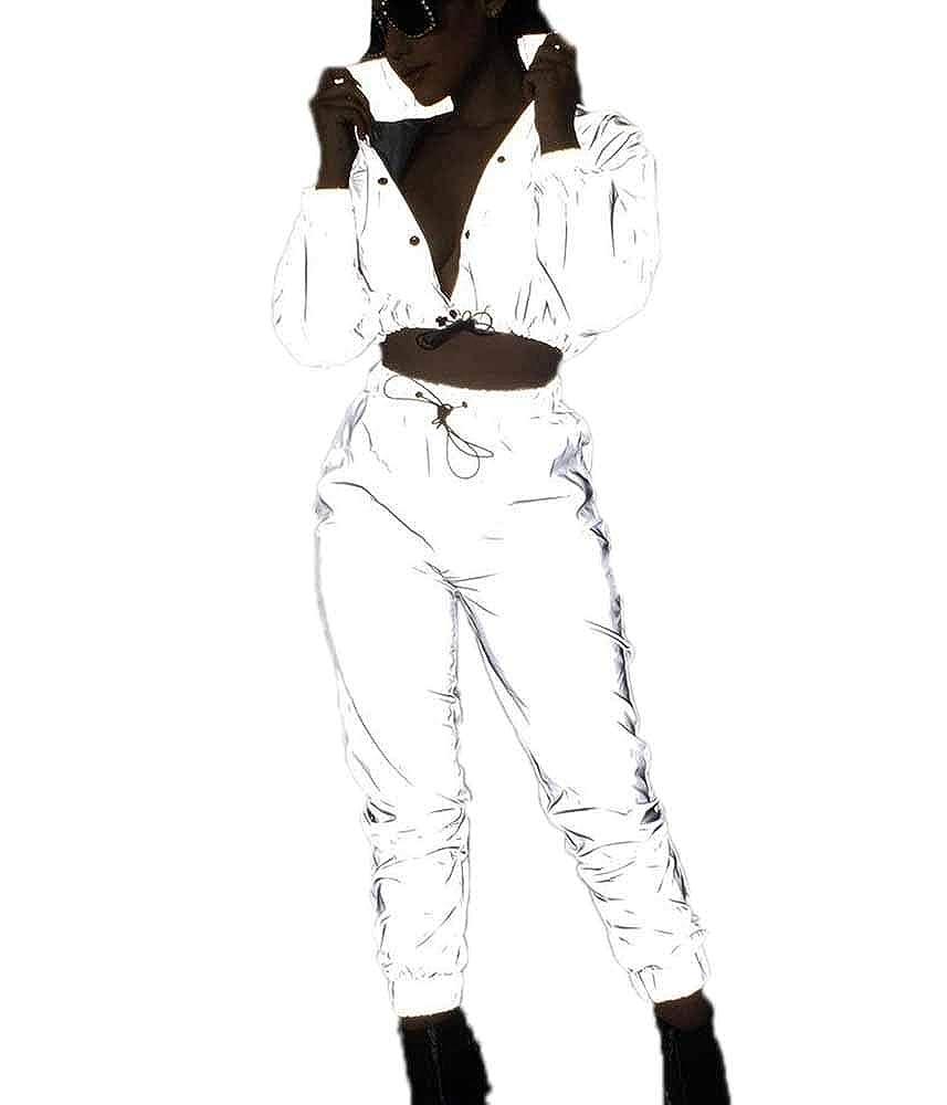 Costume de v/êtements r/éfl/échissants de Rock de Mode Pantalon r/éfl/échissant de Jogger Cardigan des Femmes Manteau