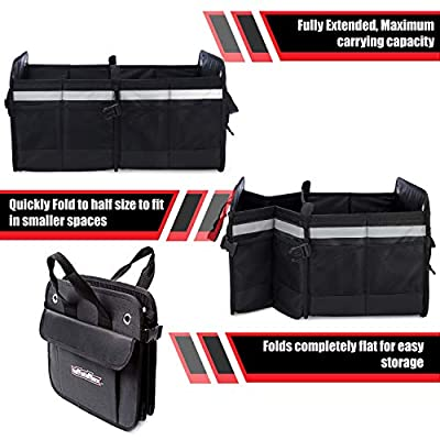 Tuff Stuff Box Car Trunk and Backseat Storage Organizer: Collapsible Organizers for Truck Bed, Front Seat, Interior of SUV, Sedan, Subaru, Minivan, Jeep - Heavy Duty Caddy with Insulated Cooler Bag: Automotive