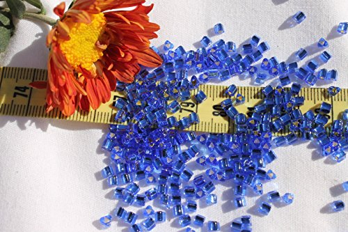 8/0 Triangle Toho Glass Seed Beads 18-Silver Lined Sapphire/ 28 Grams # 35. Perfect for Earrings, Necklaces or (Opal Glass Triangles)