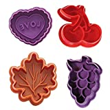 (Set of 4 )Baking Pie Crust Cookie Cutters,BPA Free,includes an cherry,Grape,leaf and heart