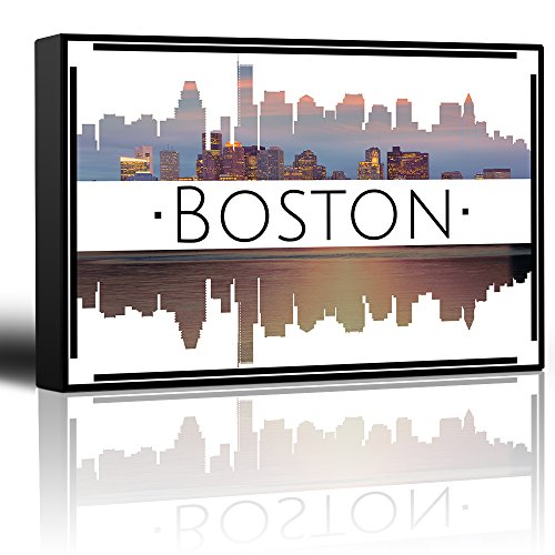 wall26 - City Skyline Series - Boston - Colorful Urban Decor - Sunsets and Silhouettes Famous Buildings and Landmarks - Canvas Art Home Decor - 12x18 inches]()